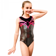 Harper's Dream Silver and Black Girls Gymnastics Leotard
