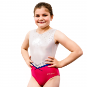 Strawberry Lemonade Girls Pink and White Gymnastics Leotard