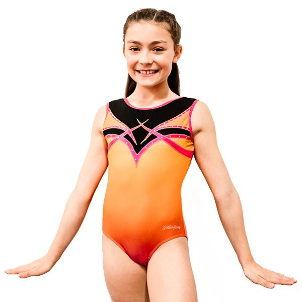 Fireberry Burnt Orange Girls Gymnastic Leotard