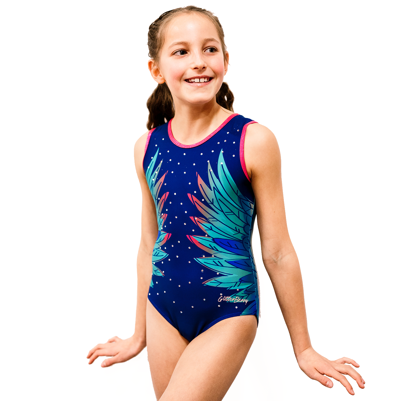 Glitterwings Blue Girls Gymnastics Leotard