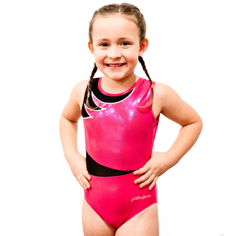 Lilyberry Girls Pink and Black Gymnastics Leotard