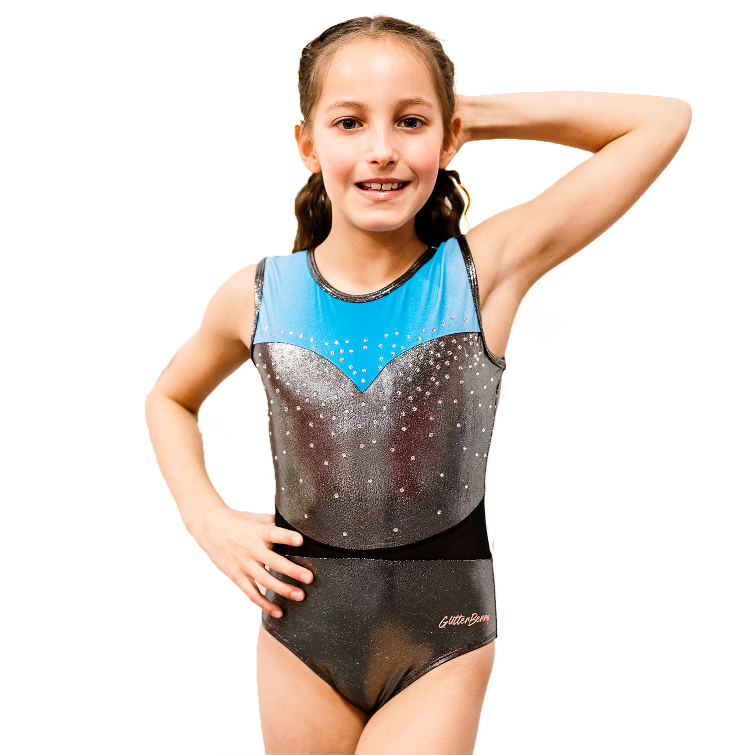 Phoebe's Secret Silver Blue Girls Gymnastics Leotard