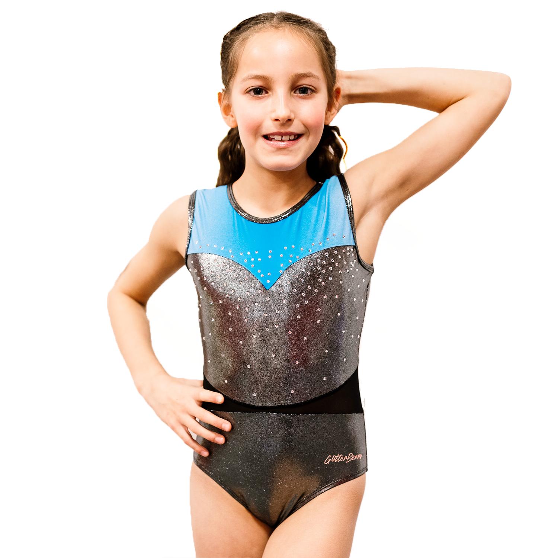 Phoebe's Secret Silver Blue Girls Gymnastics Leotard